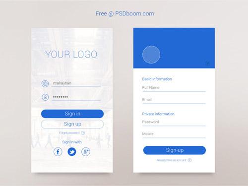 深色蓝色背景,加深红色按钮,这个款app登录界面设计也是很相称的.